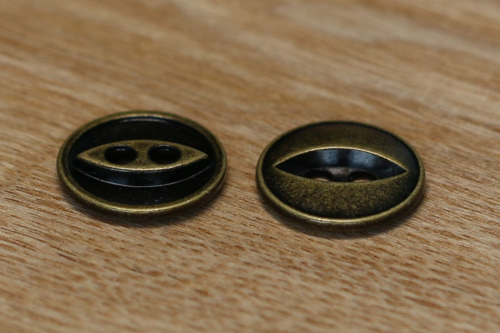 Special designed 4 holes round Black Gold metal button military shank button