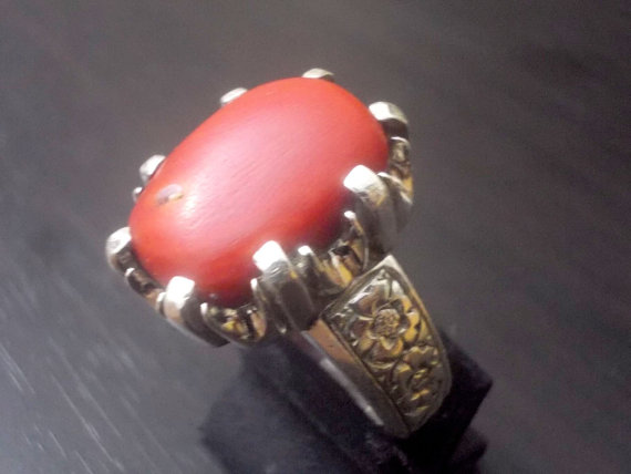 New Coral (Marjaan , Marjan) Ring for Men in 925 Sterling Silver