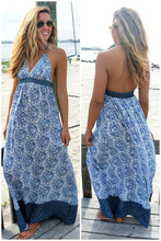 Wholesale Woman Clothes Fashion Beach Dress, Seashells And Sandcastles Blue Chiffon Print Halter Top Maxi Dress