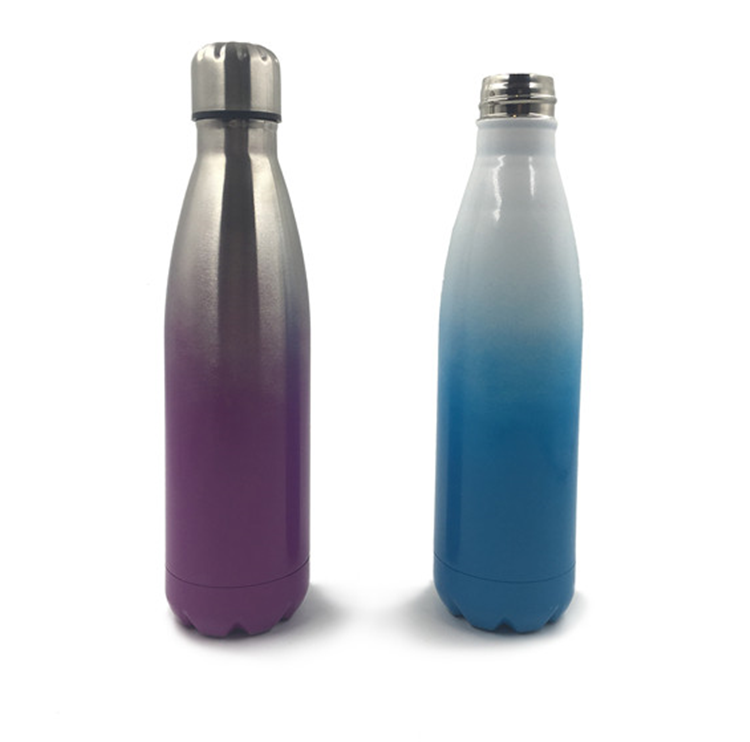 Gradient Color Cola Shape 500ML Stainless Steel Water Bottle with Muliti-Color Spray