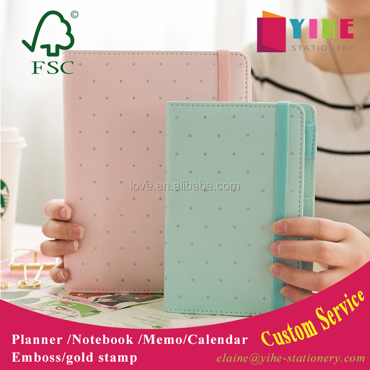 2017 fashion macaroon candy color A5./A6 PU cover planner with clasp button /elastic band ,loose leaf organzier agenda with logo