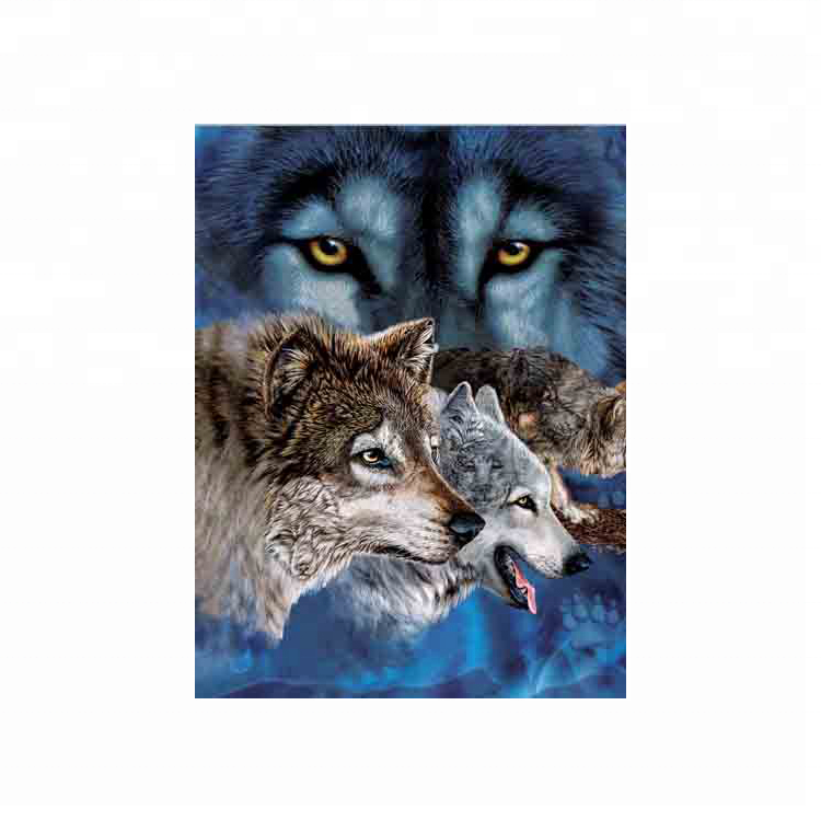 Wholesale lenticular 3d 5d wall art <strong>picture</strong> of animal lenticular image wolf 3d image