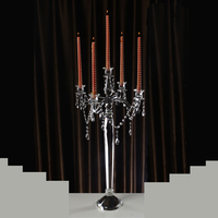 wedding 5 arms crystal candelabra with hanging crystals
