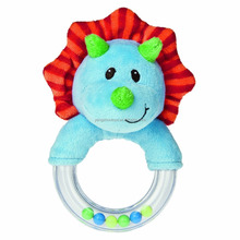 hot sale dinosaur plush baby ring rattle toy for baby shower party