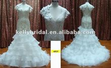 New arrival high quality lace with hand made flower backless fish tail organza skirt wedding dress2013