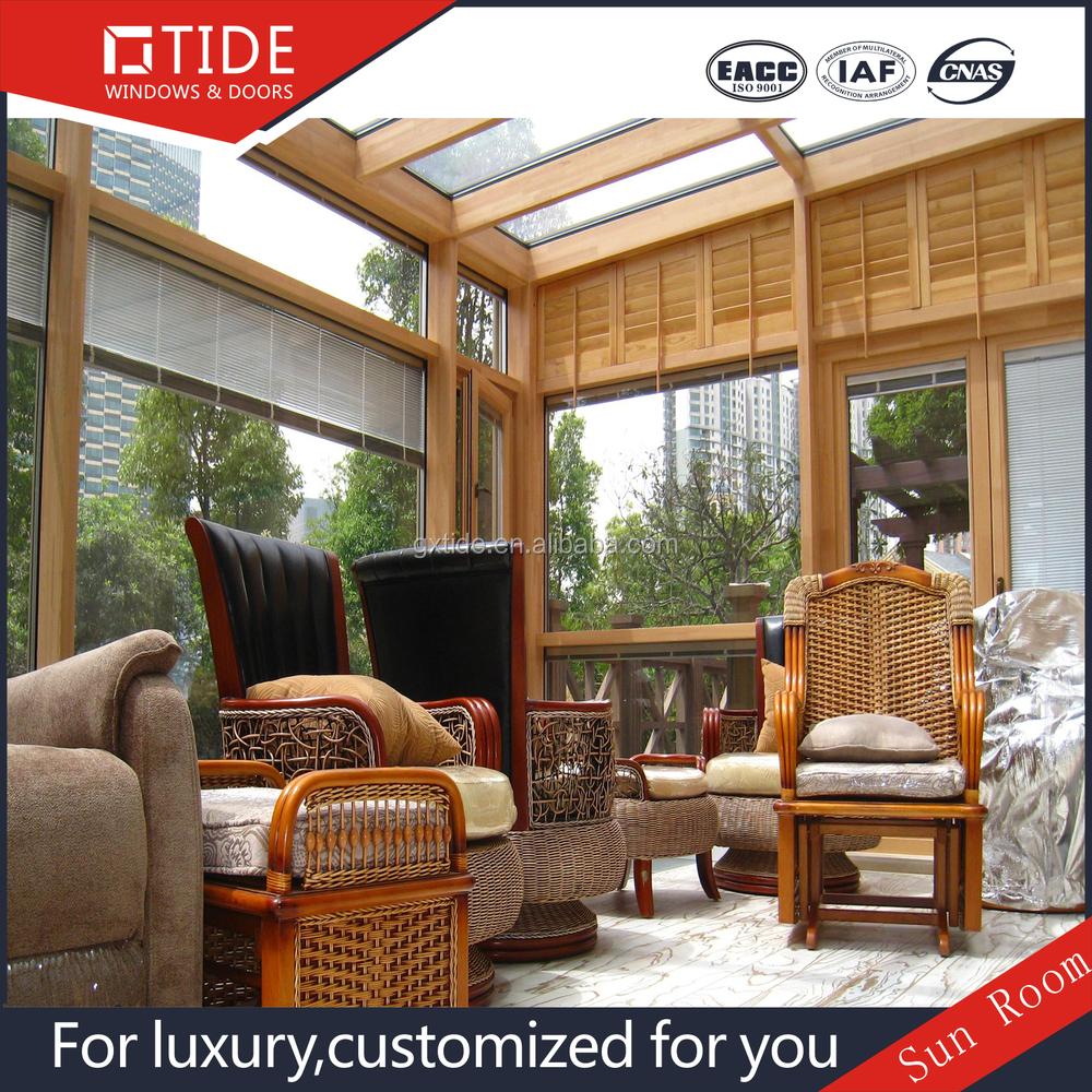 Villa gebouw glas dak aluminium houten frame veranda gehard glas ...