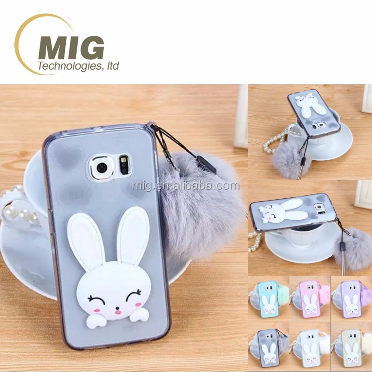 Clear cute rabbit style cell phone case for iphone 6s / 6s plus case , mobile phone cover for iphone 6 / 6 plus with ear stand