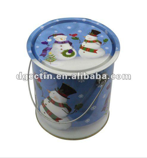 CC Small round metal tin buckets white tin pails