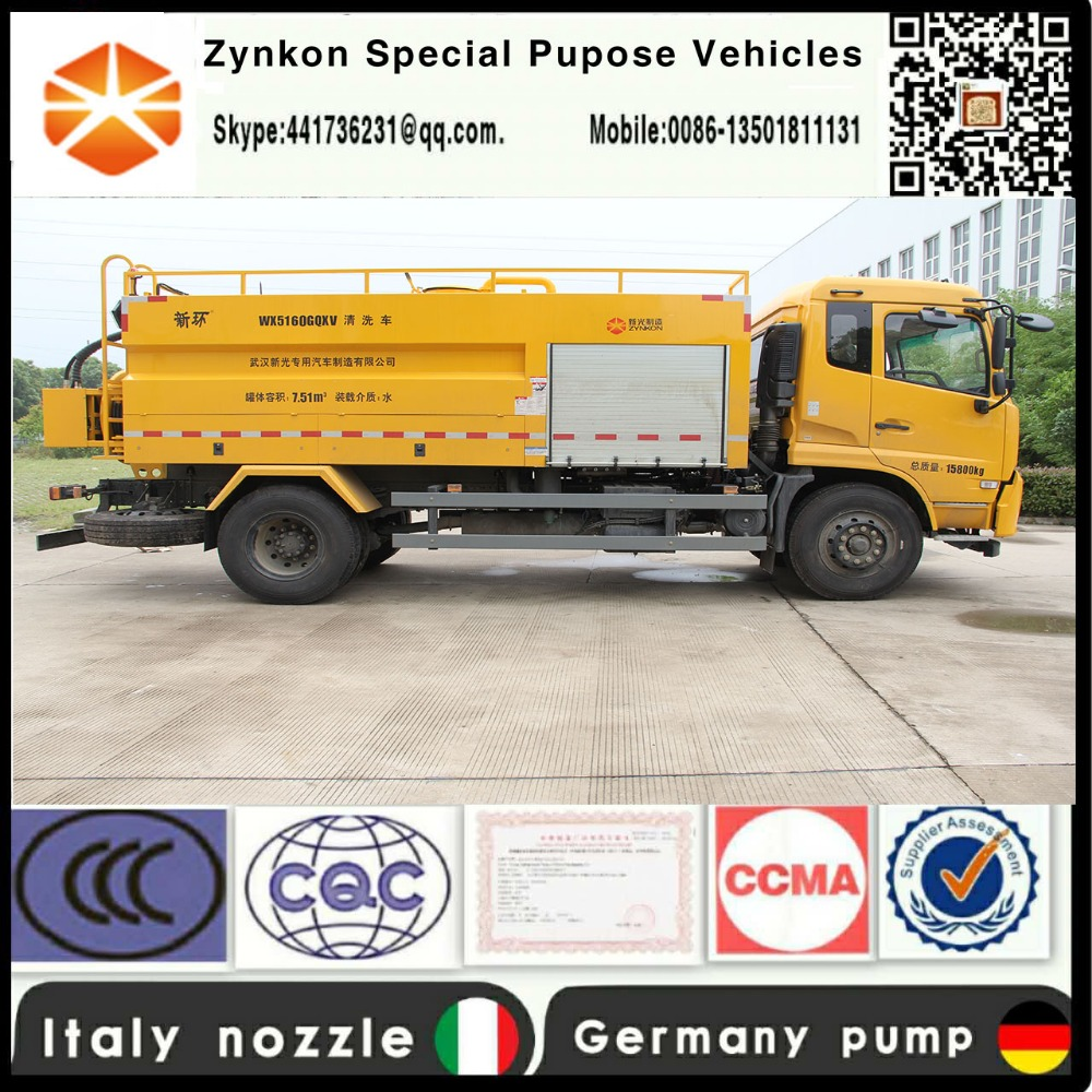 ZYNKON WX5160GQXV(SPECK,P76)8500L High pressure sewer jetting truck with high pressure Germany water pump and Italy nozzle