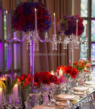 Artificial wedding table centerpieces crystal candelabra with top flower bowl manufacturer supply