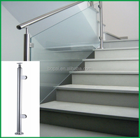 Stainless steel handrail with glass clamp,staircase glass railing