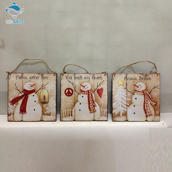 Snowman pattern wood materials top quality low cost various size christmas ornaments in bulk