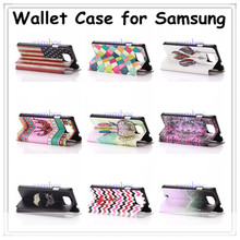 Stylish Printed Leather Flip Case Cover Wallet Phone Pouch Stand Card Holder for iphone 5c /4s /5s for Samsung Galaxi Note 3