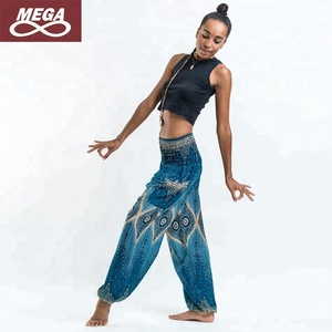 High Waist Split Turquoise Bohe India Harem Yoga Pants Sexy Beach Pant Bloomers Loose Hiphop yoga Trouser