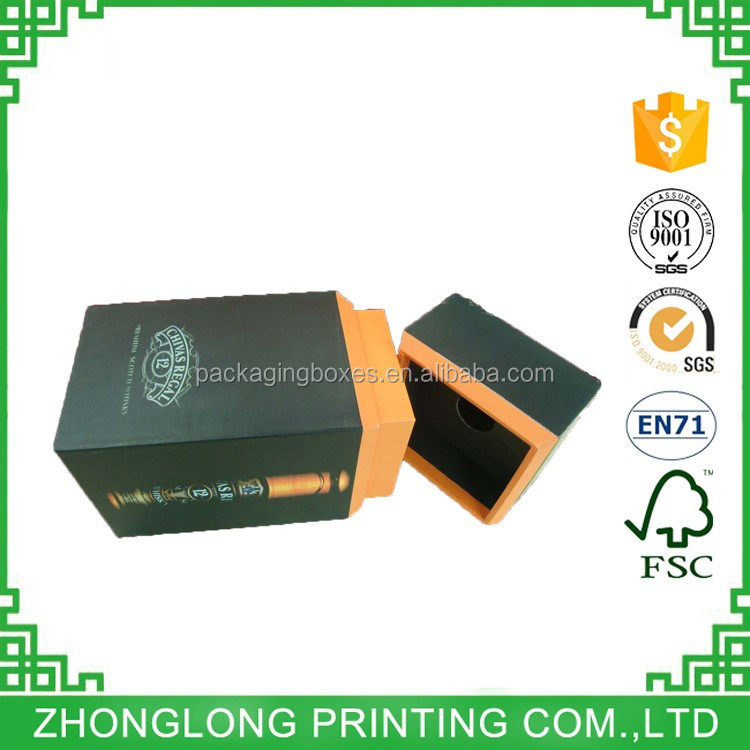 Luxury UV Coating Cover / Wine Packaging Paper Box With Logo