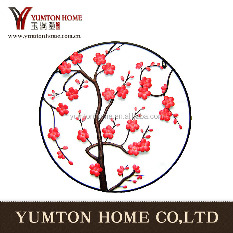 red round tree metal wall hanging art decor