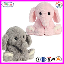 C209 Soft Pink & Gray Elephant Toy Cuddly Big Eyes Stuffed Plush Used Soft Toys