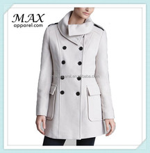 Oversized Collar Double Breasted Plush Womens Coat