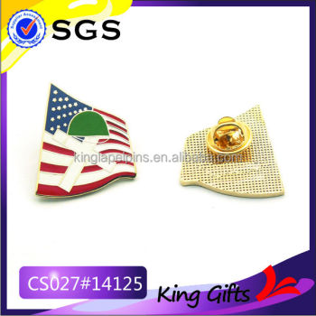 USA flag imitation hard enamel gold lapel pin with cross and helmet