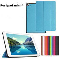 Luxury Business Tri-Fold Ultra-thin Slim Stand Flip PU Leather Case Hard Smart Tablet Cover Shell for iPad mini 4