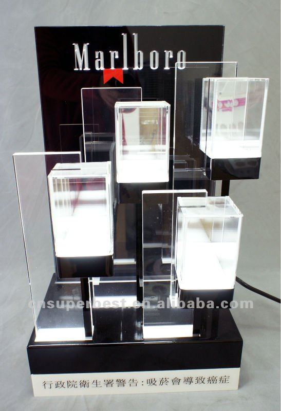 black acrylic cigarette tabletop display with LED