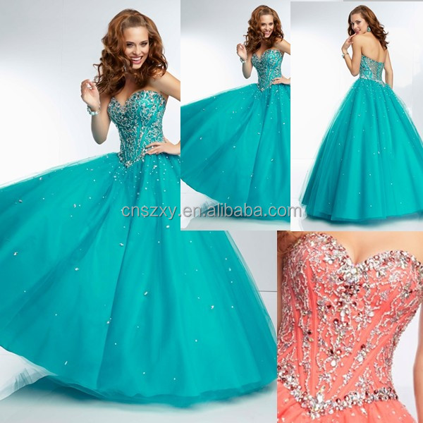 2014 Sweetheart Hand Sew Beaded Backless Prom Dress Made In China --- APD00067