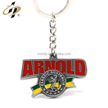 Wholesale antique silver plated enamel 3D bodybuilding metal sports keychains