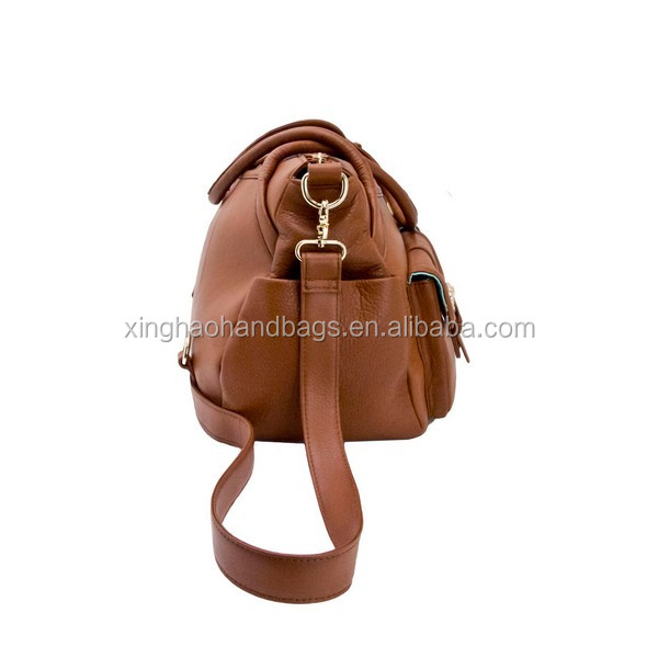 2017 Stylish Leather Nappy Bag Practical Genuine Leather Tote Bag Diaper Bag