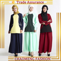 Muslim women long Sleeve Two pieces Maxi Dress Abaya Designs For Islamic