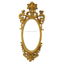Impressive European Baroque Cartouche Oval Wall Mirror Painted in Gold BF12-07254e