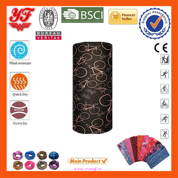 Black Background The Pattern Of Old Bike 100% Polyester Outdoor Multifunctional Seamless Tube Bandana