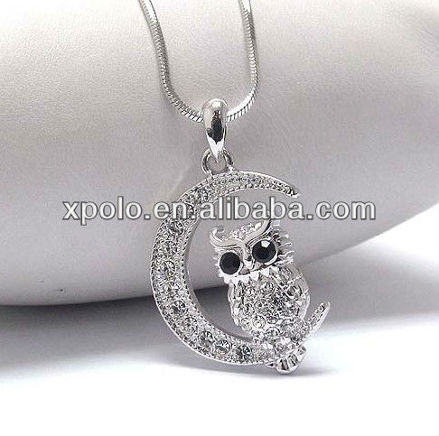 White gold plating black crystal eye owl and moon pendant necklace