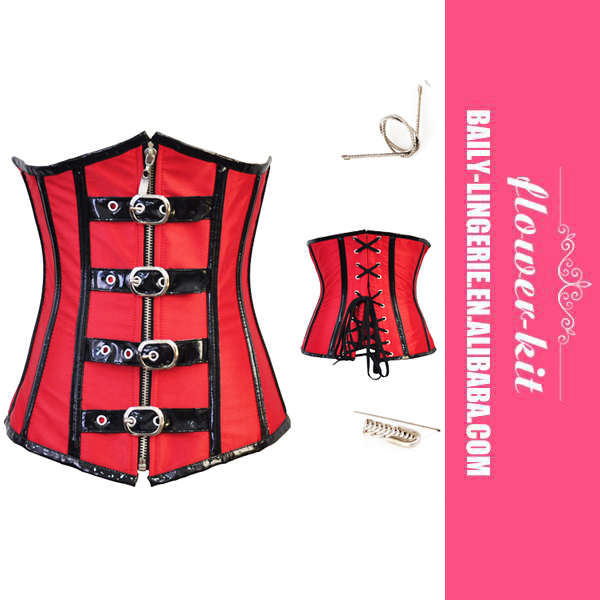 Red Buckled Steel Boned Leather Underbust Corset Wholesale