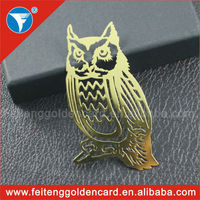 China cheap customized owl shape photo etched metal bookmark wholesale