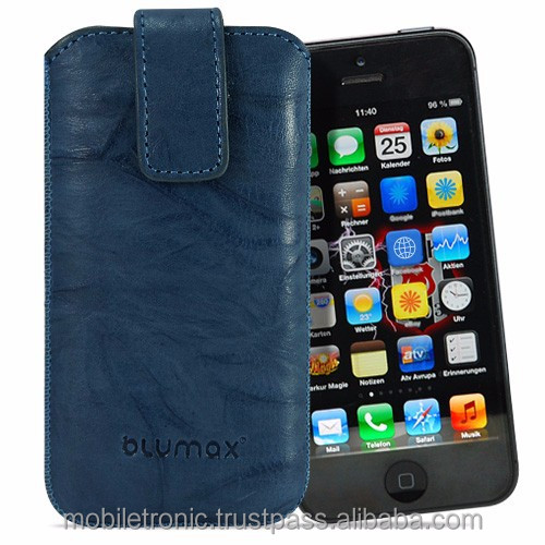 Geniune Leather case for iPhone 5c Slide Washed Blue Cow Leather