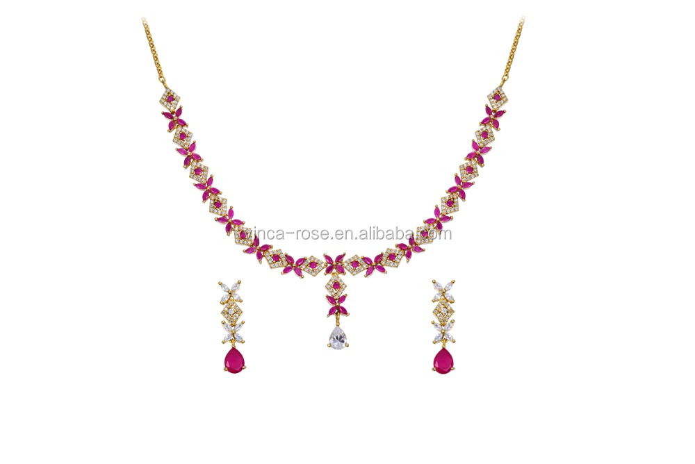 Modern style ruby huggie earrings brass cz necklace jewelry set