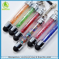 For iphone capacitive mini crystal stylus touch pen with earphone plug