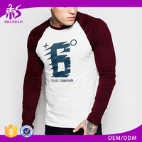 OEM Manufacturer Stylish Casual 190g 100% Cotton Name Brand Mens O-Neck Long Sleeve Tshirt 2016