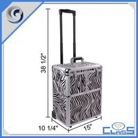 Functional Aluminum Beauty Pro Generous Makeup Trolley Case With Wheels