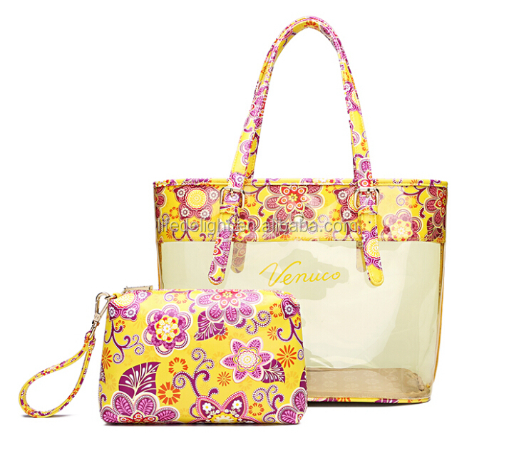 Hot sale waterproof yellow flower printed Clear PVC Vinyl Plastic Transparent big hand bag for gift