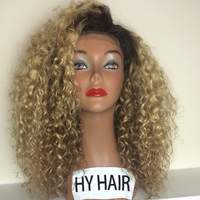 Natural Looking Kinky Curly Lace Wig Blonde Cheap Women Hair Wig