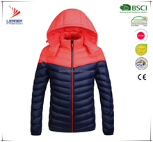 Branded two tone winter custom goose duck down feather jacket