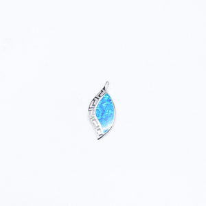 925 Sterling Silver Jewelry Blue Fire Opal Pear Shape Pendant/Teardrop Opal Pendant