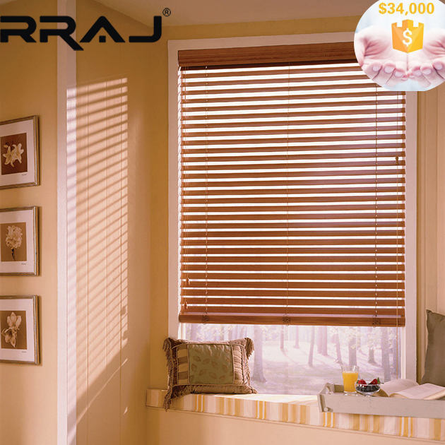 RRAJ Solid Pine Wood Slats Blind for office or tea room decoration