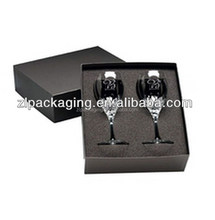 Clear Wine Glass Packing Box With Black Matte Finish