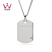 Engravable Birthstone classical Dog Tag stainless steel pendant with 1.5mm cubic zirconia