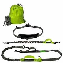 Reflective Double Leash for walking 2 dogs , Bungee Hands Free Dog Running Leash with Poop Bag Holder