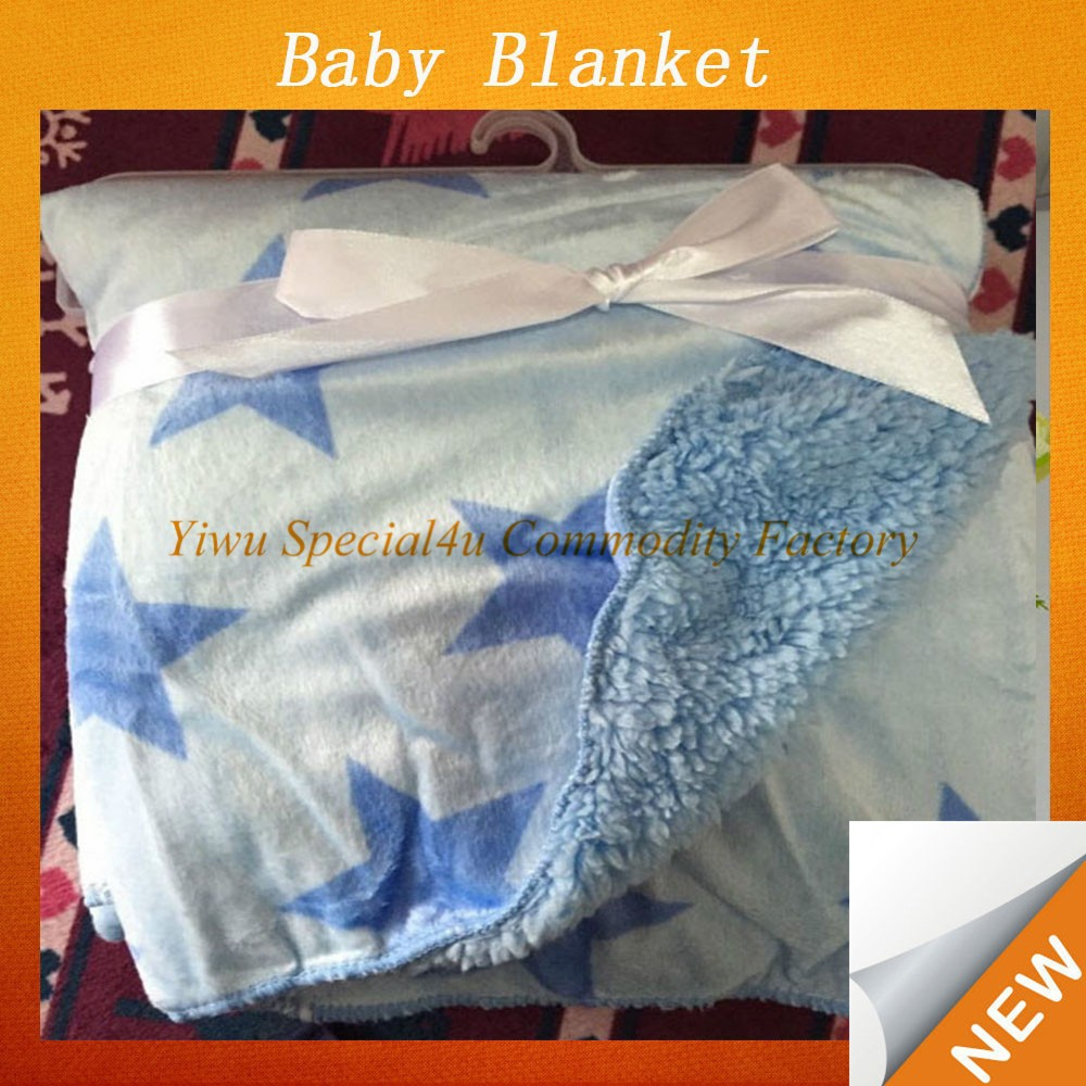 Baby Shower Infant Blanket-size,printing could be customized star design white cotton baby blanket Lyd-1007