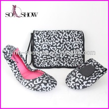 women animal printing leather foldable ballerina shoes