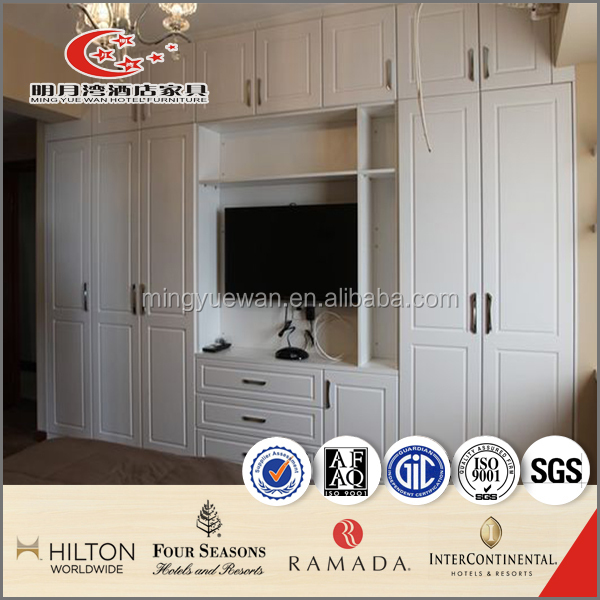 MDF high gloss wardrobe with book shelf hotel apartment furniture